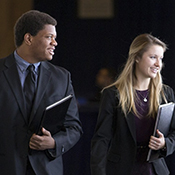 students in business attire